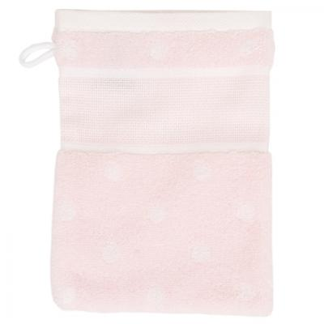 Rico Design Waschhandschuh zum Besticken 740244.73 rosa mit Punkten