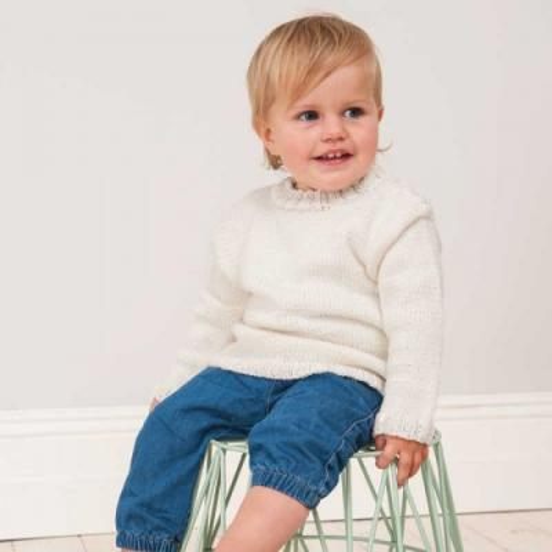 Strick-Set Babypullover weiß - Rico Design