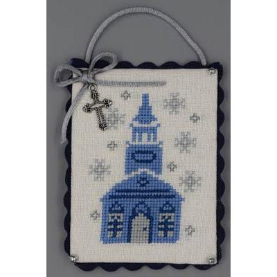 Church (Blue & Silver Christmas) - Stickvorlage Misty Hill Studio