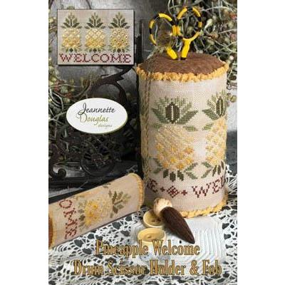 Pineapple Welcome Drums - Scissor Holder & Fob - Stickvorlage Jeanette Douglas