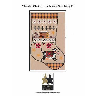 Twin Peak Primitives Stickvorlage Rustic Christmas Series Stocking I