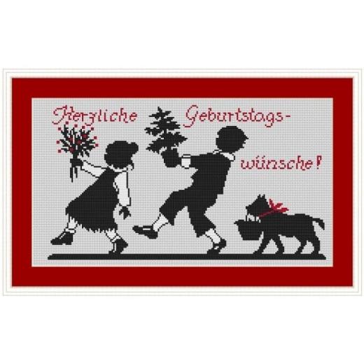 Kreuzstich-Insider Stickvorlage Stürmische Geburtstagsgrüße