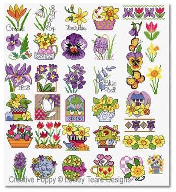 Lesley Teare Stickvorlage Spring Flower Motifs