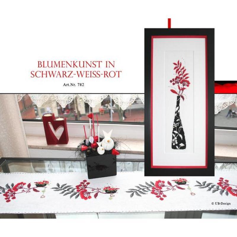 Blumenkunst in schwarz-weiß-rot - Stickvorlage UB-Design