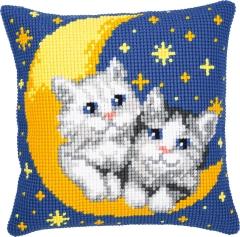 Kreuzstichkissen Vervaco PN-0008678 Katzen im Mond 40x40