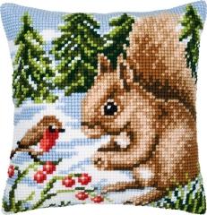 Kreuzstichkissen Vervaco PN-0008667  Eichhörnchen im Schnee 40x40