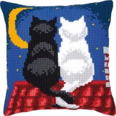 Vervaco Kreuzstichkissen PN-0008598 Katzen in der Nacht 40x40