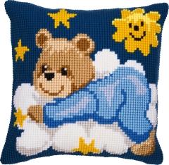 Kreuzstichkissen Vervaco PN-0008573 Bär auf der Wolke blau 40x40