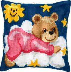Kreuzstichkissen Vervaco PN-0008574 Bär auf der Wolke rosa 40x40