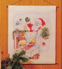 Stickpackung Oehlenschläger Kreuzstich 11147 - Behang Weihnachtsmann am Kamin