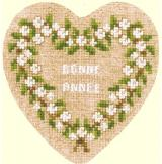 Herz-Geschenkbox weiße Beeren - Stickpackung Bonheur des Dames