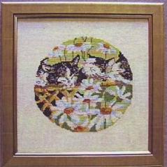 Stickpackung Oehlenschläger 33050 Katze im Margeritenfeld 25x25