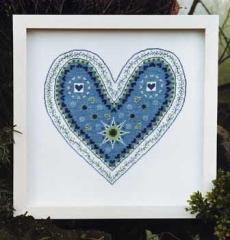 Herzfieber, blau - Stickpackung Christiane Dahlbeck
