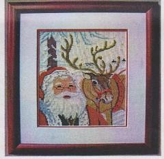Weihnachtsmann mit Rentier - Stickpackung Oehlenschläger
