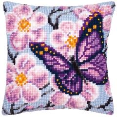 Kreuzstichkissen Vervaco PN-0008501 Schmetterling lila 40x40