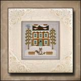 Country Cottage Needleworks Stickvorlage Frosty Forest Raccoon Cabin