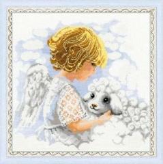 Kreuzstichpackung Riolis mit Aida - Engel mit Lamm