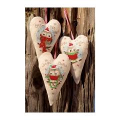 Kreuzstichpackung Vervaco mit Aida - Herz Weihnachtseulen 3 Stück