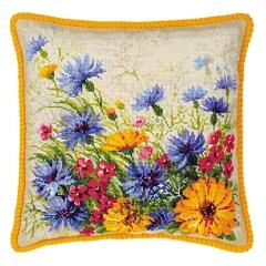 Kissen Blumenwiese - Stickpackung Riolis