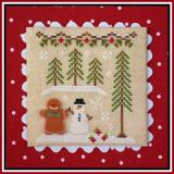 Gingerbread Village 7 - Gingerbread Boy And Snowman - Stickvorlage Country Cottage Needleworks