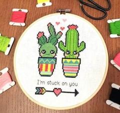 Stuck On You Valentine Cactus - Kreuzstichvorlage Tiny Modernist Inc