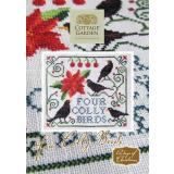 Cottage Garden Samplings Stickvorlage 12 Days of Christmas Four Colly Birds