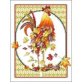 October Rooster - Kreuzstichvorlage Vickery Collection