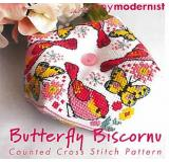 Tiny Modernist Inc Stickvorlage Butterfly Biscornu
