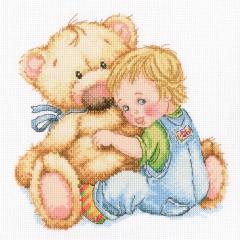 Kind mit Teddybär - Stickpackung Kreuzstich RTO mit Aida