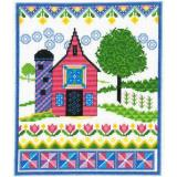 Barn With Spring Quilts - Stickvorlage Imaginating