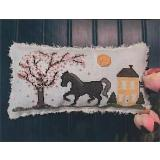 Vintage Needlearts Stickvorlage Big Black Horse And The CherryTree