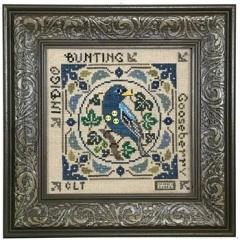 Tellin Emblem Stickvorlage Birdie & Berries Indigo Bunting