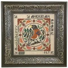 Tellin Emblem Stickvorlage Birdie & Berries American Robin