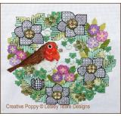 Lesley Teare Stickvorlage Blackwork Flowers With Robin