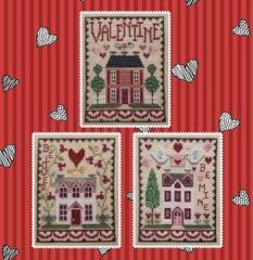 Waxing Moon Designs Stickvorlage Valentine House Trio