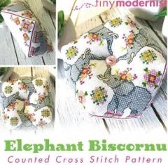 Stickvorlage Tiny Modernist Inc Elephant Biscornu January