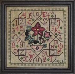Tellin Emblem Stickvorlage Sampler Tile Pink
