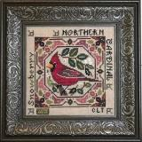 Tellin Emblem Stickvorlage Birdie & Berries Northern Cardinal