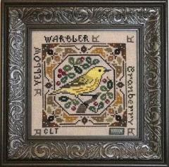 Tellin Emblem Stickvorlage Birdie & Berries Yellow Warbler