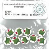 Just Another Button Company Buttons Secret Santa Holly Beads 10474.G