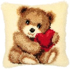 Vervaco Knüpfpackung PN-0014187 Teddybär mit Herz 40x40