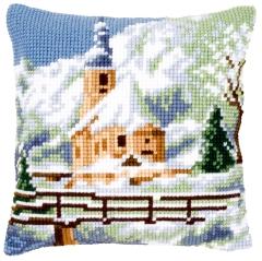 Kreuzstichkissen Vervaco PN-0021806 Kirche im Schnee 40x40
