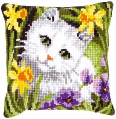 Kreuzstichkissen Vervaco PN-0147362 Katze in den Blumen 40x40
