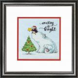 Dimensions Stickpackung D70-08990 Merry & Bright Bear 15,2x15,2