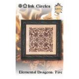 Ink Circles Stickvorlage Elemental Dragons Fire