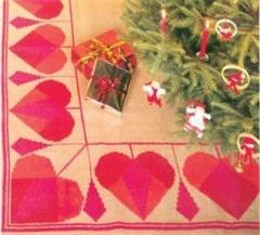 Stickpackung Haandarbejdets Fremme 29-6272 Weihnachtsbaumdecke Herzen 140x140