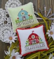 Annie Beez Folk Art Stickvorlage Bitty Barns Spring & Summer
