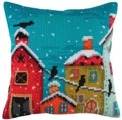 Kreuzstichkissen Collection dArt 5350 - Häuser im Winter 40x40
