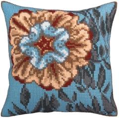 Kreuzstichkissen Collection dArt 5329 - Blume türkis 40x40
