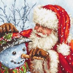 Leti Stitch Stickpackung 919 Weihnachtsmann & Schneemann 25x25